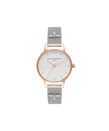 OLIVIA BURTON LONDON  Rose Gold & Silver 3D Bee Mesh Watch OB16ES04 – Midi Dial Round in White and Rose Gold - Front view