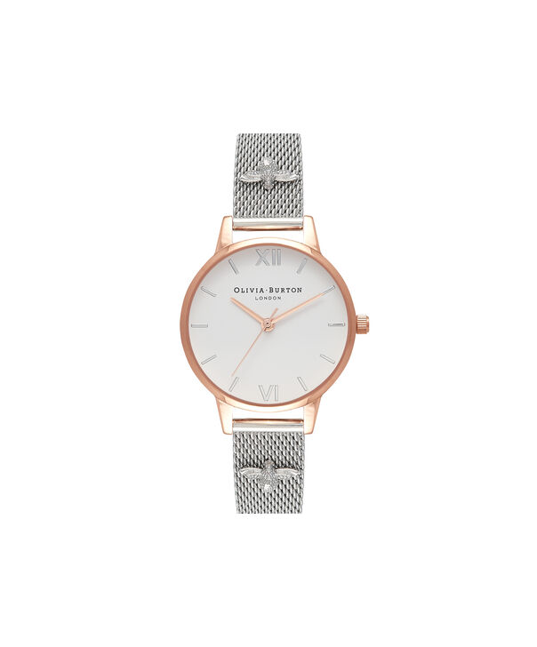 OLIVIA BURTON LONDON 3D Bee Embellished Strap Rose Gold & Silver 3D Bee Mesh Watch OB16ES04 – Midi Dial Round in White and Rose Gold - Front view