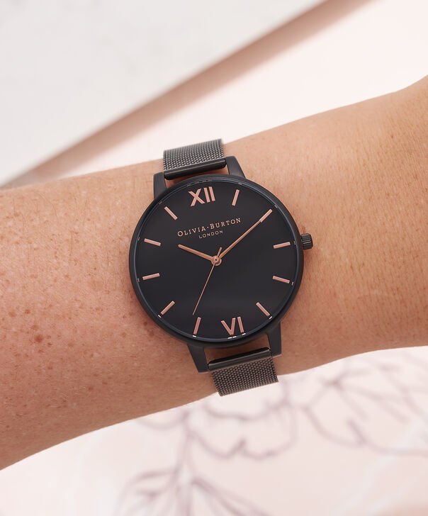 OLIVIA BURTON LONDON  After Dark IP Black Mesh Watch OB15BD83 – Big Dial Round in Black - Other view