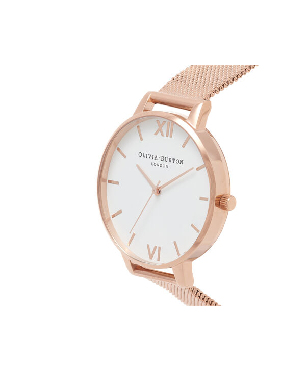 OLIVIA BURTON LONDON  Big Dial Rose Gold Mesh Watch OB15BD79 – Big Dial Round in White and Rose Gold - Side view
