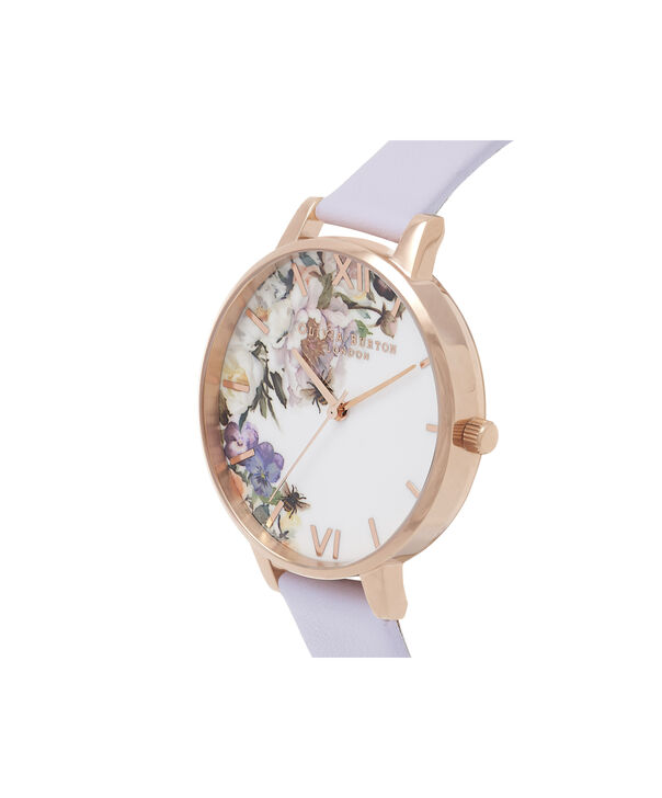 OLIVIA BURTON LONDON  Enchanted Garden Parma Violet & Rose Gold OB16EG110 – Big Dial Round in Rose Gold and Parma Violet - Side view