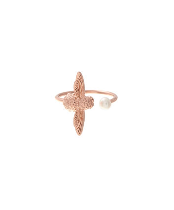 OLIVIA BURTON LONDON  Pearl Bee Ring Rose Gold  OBJ16AMR09 – Pearl Bee Ring - Front view