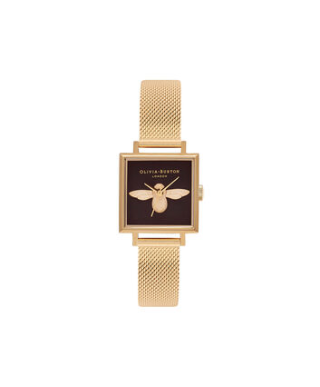 OLIVIA BURTON LONDON 3D BeeOB16AM90 – Midi Dial Square in Black and Gold - Front view
