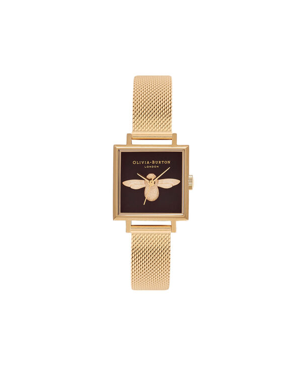 OLIVIA BURTON LONDON  Square Dial 3D Bee Gold Mesh Watch OB16AM90 – Midi Dial Square in Black and Gold - Front view
