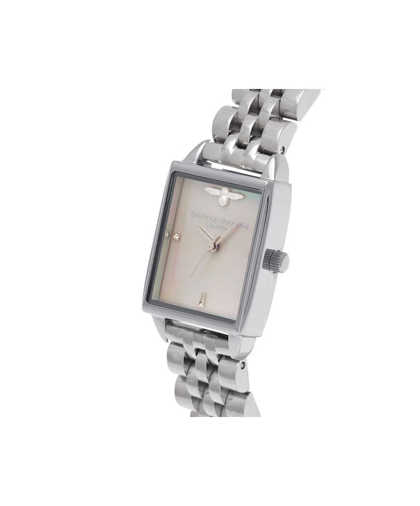 OLIVIA BURTON LONDON  Bee Hive Grey Mother of Pearl Bracelet, Silver OB16BH03 – Midi Dial Rectangle in Silver and Silver - Side view