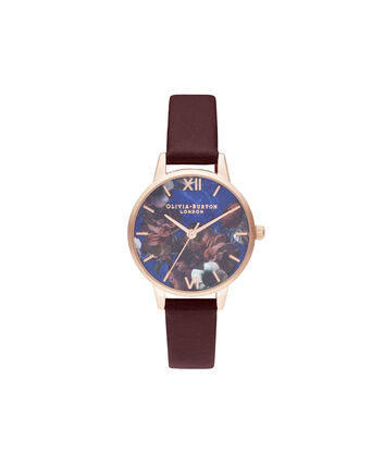 OLIVIA BURTON LONDON Midi Lapis Lazuli & BurgundyOB16SP10 – Midi Dial in Burgundy and Rose Gold - Front view