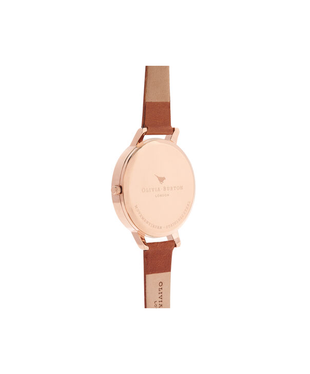 OLIVIA BURTON LONDON  Big Dial Tan And Rose Gold Watch OB15BD70 – Big Dial Round in Rose Gold and Tan - Back view