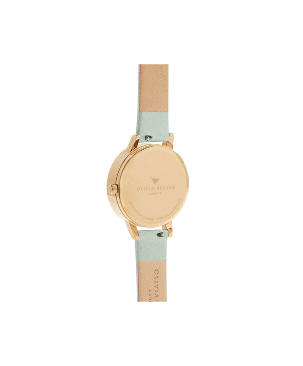 OLIVIA BURTON LONDON  Dancing Daisy Sage & Gold OB16CH17 – Big Dial Round in Gold - Back view