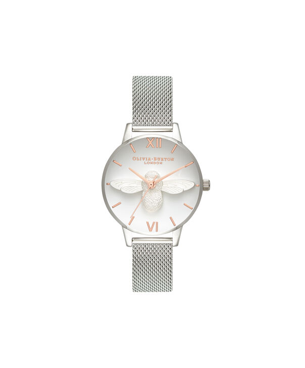 OLIVIA BURTON LONDON  3D Bee Rose Gold & Silver Mesh OB16AM146 – Midi Dial Round in Silver - Front view