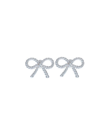 OLIVIA BURTON LONDON  Vintage Bow Earrings Silver OBJ16VBE03 – Vintage Bow Stud Earrings - Front view