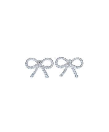 OLIVIA BURTON LONDON  Vintage Bow Earrings Silver OBJ16VBE03 – Vintage Bow Stud Earrings - Front view