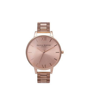 OLIVIA BURTON LONDON Sunray DialOB13BL07BS – Big Dial Round in Rose Gold - Front view