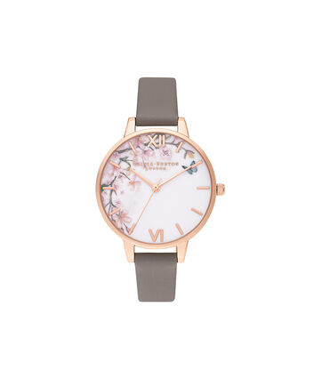 OLIVIA BURTON LONDON Pretty Blossom Demi London Grey & Rose GoldOB16EG122 – Pretty Blossom Demi London Grey & Rose Gold - Front view