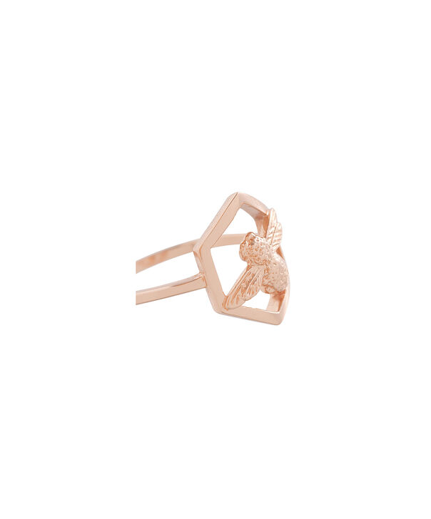OLIVIA BURTON LONDON  Honeycomb Bee Ring Rose Gold OBJ16AMR06 – Honeycomb Bee Ring - Side view