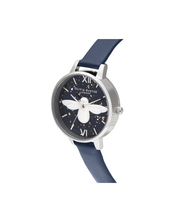 OLIVIA BURTON LONDON 3D Bee, Midnight, Navy & SilverOB16GD04 – Demi Dial in Navy and Silver - Side view