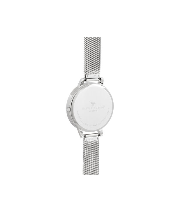 OLIVIA BURTON LONDON Big Dial Rose Quartz & Silver MeshOB16SP18 – Big Dial in Silver and Silver - Back view