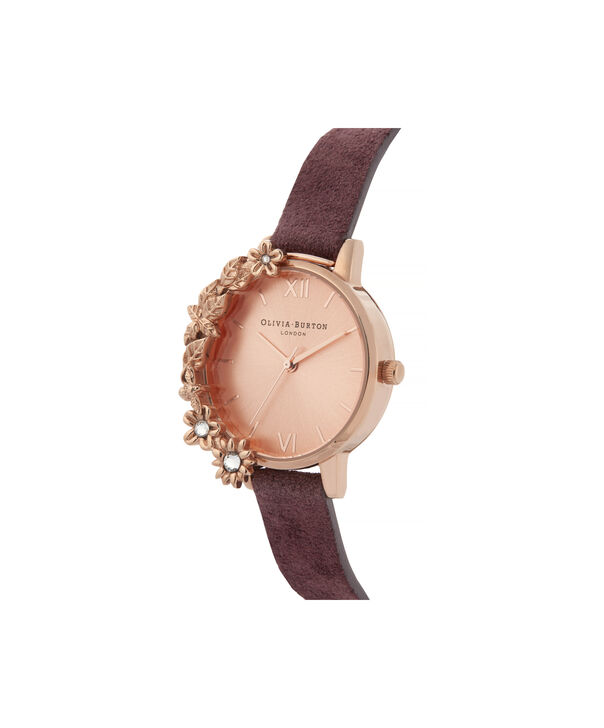 OLIVIA BURTON LONDON Case Cuff Diamante Midi Dial WatchOB16CB21 – Midi Dial in pink and  Rose Gold - Side view