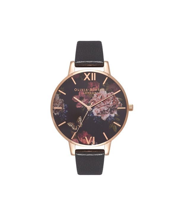 OLIVIA BURTON LONDON  Dark Bouquet Black & Rose Gold Watch OB16WG42 – Big Dial Round in Rose Gold - Front view