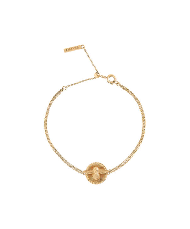 OLIVIA BURTON LONDON 3D Bee & Coin Chain Bracelet Gold OBJ16AMB22 – 3D Bee Chain Bracelet - Front view