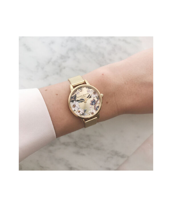 OLIVIA BURTON LONDON Bejewelled Floral Midi Gold MeshOB16EX107 – Midi Dial In Gold And Gold - Other view