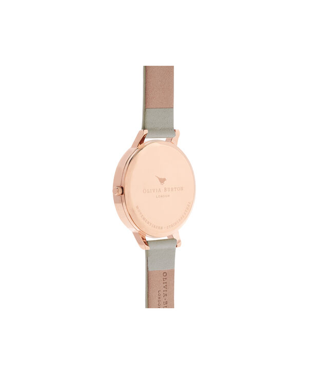 OLIVIA BURTON LONDON  Big Dial Grey & Rose Gold Watch OB15BDW02 – Big Dial Round in White and Grey - Back view