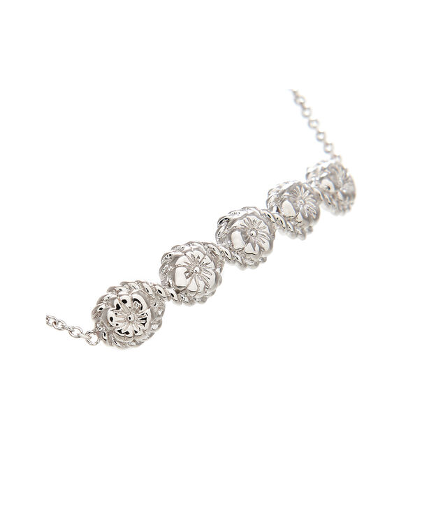 OLIVIA BURTON LONDON Flower Show Rope Chain Bracelet Silver OBJ16FSB12 – Floral Charm Chain Bracelet - Side view