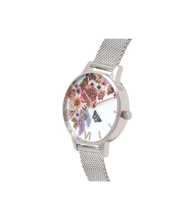 OLIVIA BURTON LONDON  Enchanted Garden Silver Mesh & Rose Gold OB16EG103 – Midi Dial Round in Silver - Side view