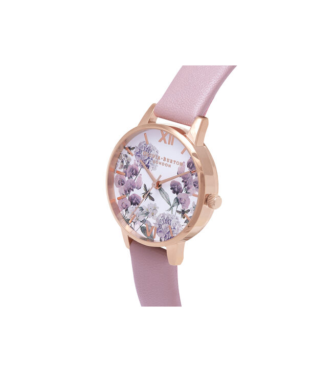 OLIVIA BURTON LONDON  Vegan Friendly Enchanted Garden Rose Sand & Rose Gold Watch OB16VE08 – Midi Dial Round in Rose Gold and Rose - Side view
