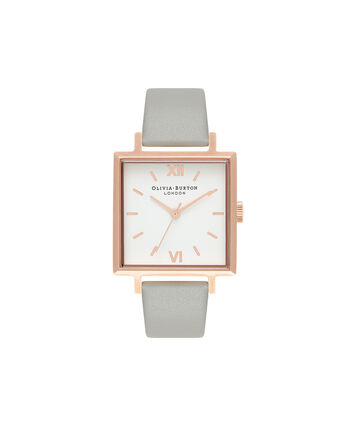 OLIVIA BURTON LONDON  Big Dial Square Dial Grey & Rose Gold Watch OB16SS23 – Big Dial Square in White and Grey - Front view