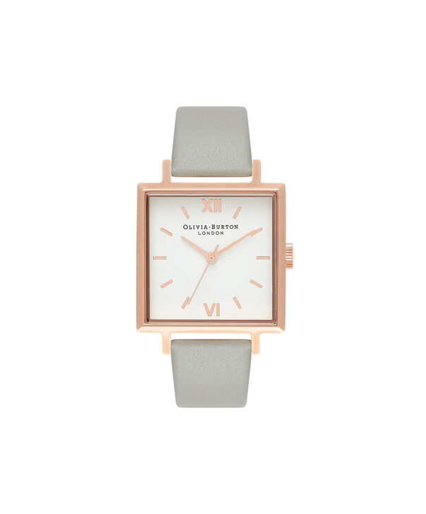 Ladies Big Dial Square Dial Grey & Rose Gold Watch | Olivia Burton London