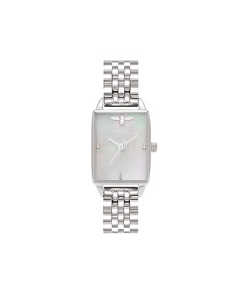 OLIVIA BURTON LONDON  Beehive Grey Mother of Pearl Bracelet, Silver OB16BH03 – Midi Dial Rectangle in Silver and Silver - Front view