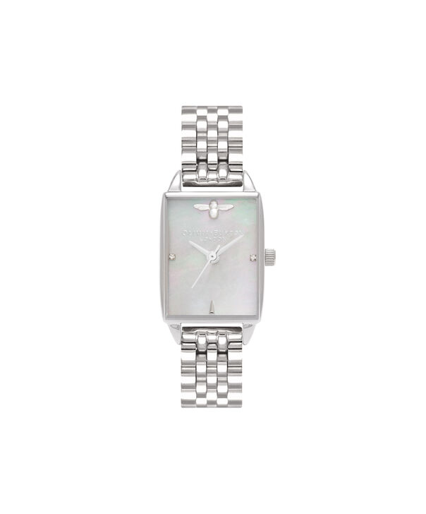 OLIVIA BURTON LONDON  Bee Hive Grey Mother of Pearl Bracelet, Silver OB16BH03 – Midi Dial Rectangle in Silver and Silver - Front view