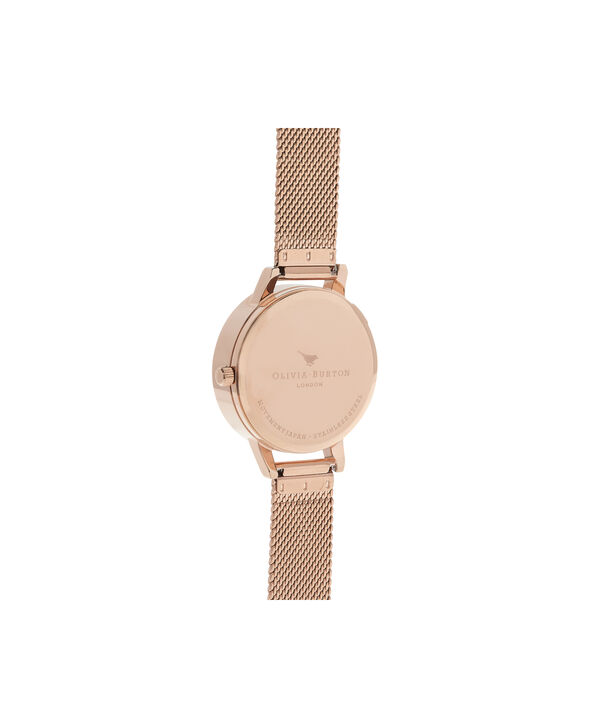OLIVIA BURTON LONDON  Busy Bees Rose Gold Mesh Watch OB16CH01 – Midi Dial Round in White and Rose Gold - Back view