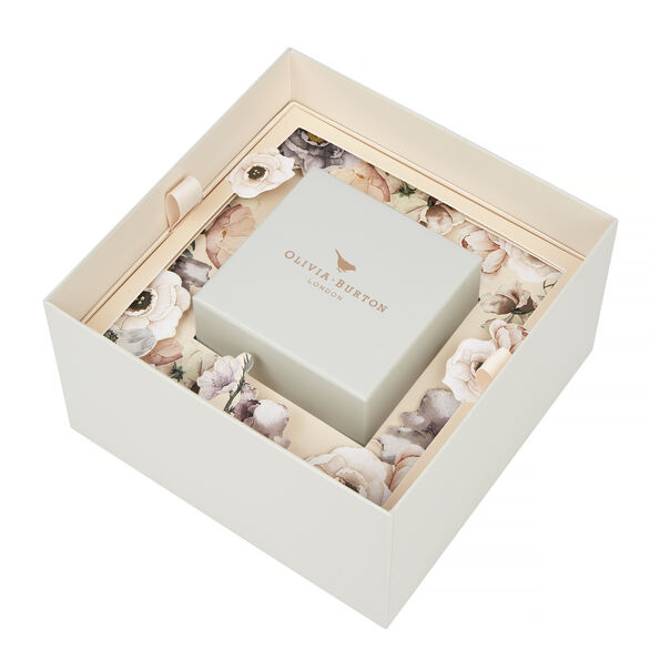 OLIVIA BURTON LONDON Collectables Semi Precious White Quartz Floral, Grey & Rose GoldOB16SP04 – Big Dial Round in Rose Gold - Other view