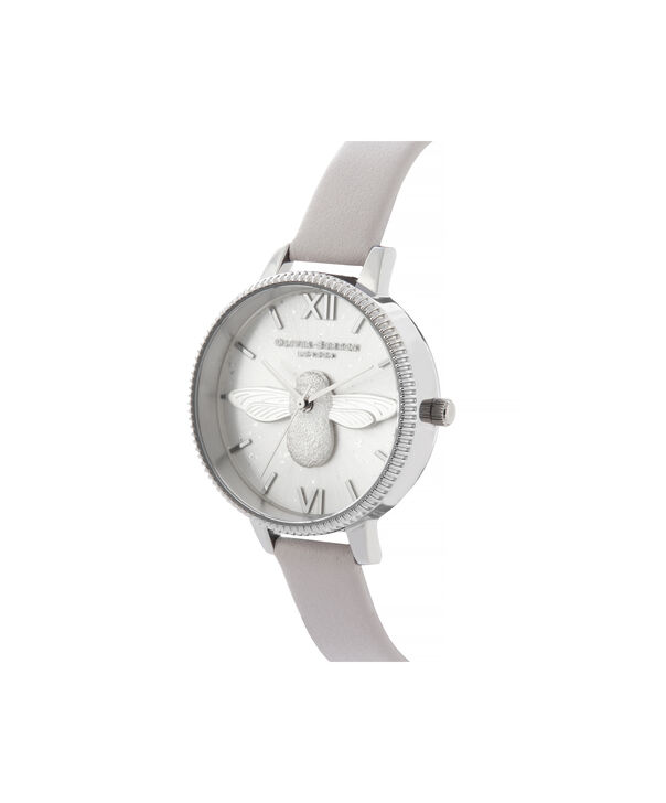 OLIVIA BURTON LONDON Celestial 3D Bee Demi Dial WatchOB16GD05 – Demi Dial in grey and Silver - Side view