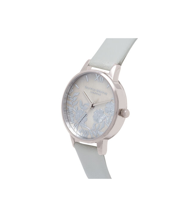 OLIVIA BURTON LONDON  Lace Detail Mother of Pearl Light Grey & Silver OB16MV93 – Midi Dial Round in Silver and Grey - Side view