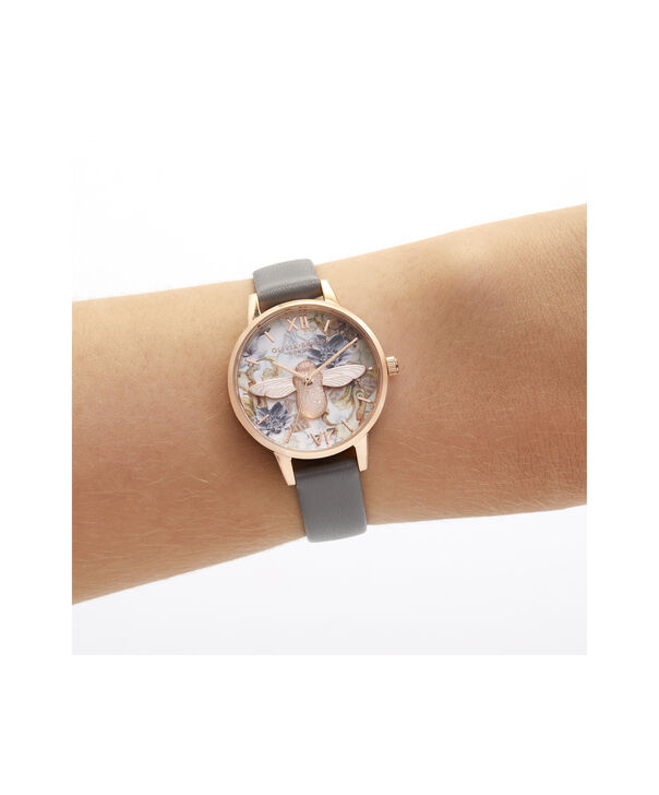 OLIVIA BURTON LONDON Midi 3D Bee Vegan London Grey & Rose GoldOB16CS19 – Midi Dial in London Grey and Rose Gold - Other view