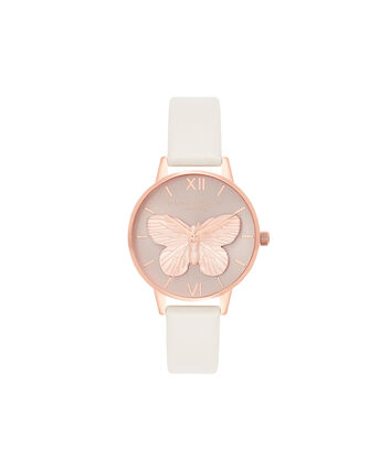 OLIVIA BURTON LONDON  3D Butterfly Blush & Rose Gold OB16MB16 – Midi Round in Rose Gold and Pink - Front view