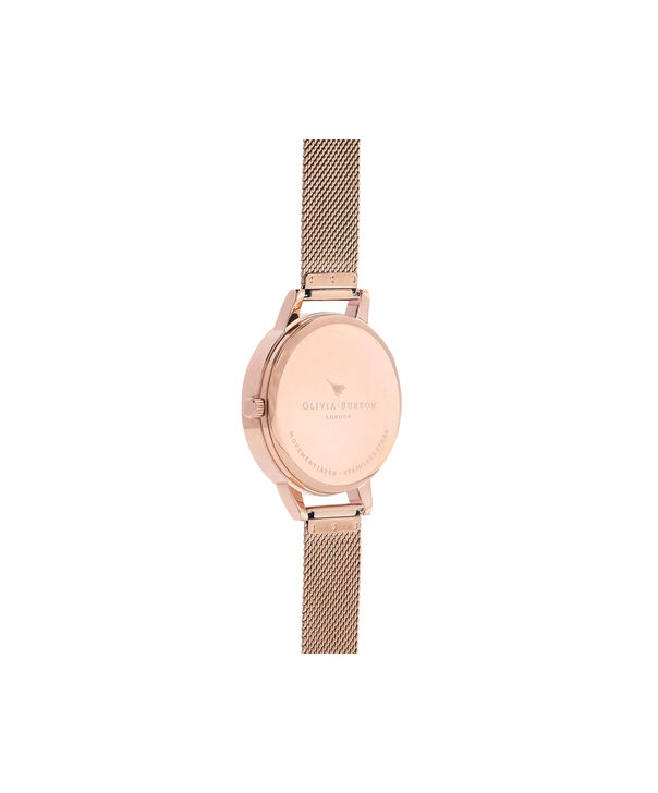 OLIVIA BURTON LONDON  Marble Floral Rose Gold Mesh Watch OB16CS06 – Midi Dial in White and Rose Gold - Back view