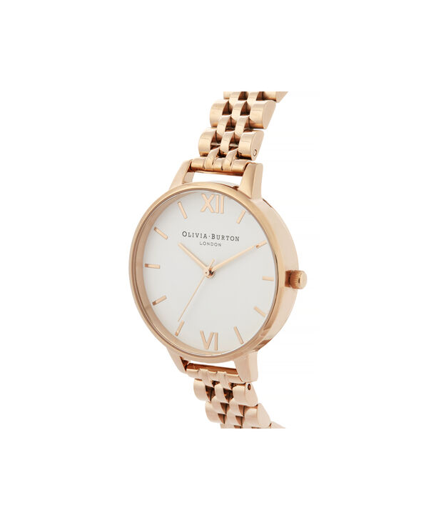 OLIVIA BURTON LONDON White Dial Demi Dial WatchOB16DEW01 – Demi Dial in rose gold and Rose Gold - Side view