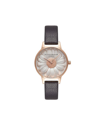 OLIVIA BURTON LONDON  Flower Show 3D Daisy Black & Rose Gold Watch OB16FS97 – Midi Dial Round in White and Black - Front view