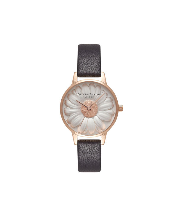 39bda4018f0f OLIVIA BURTON LONDON Flower Show 3D Daisy Black   Rose Gold Watch OB16FS97  – Midi Dial ...