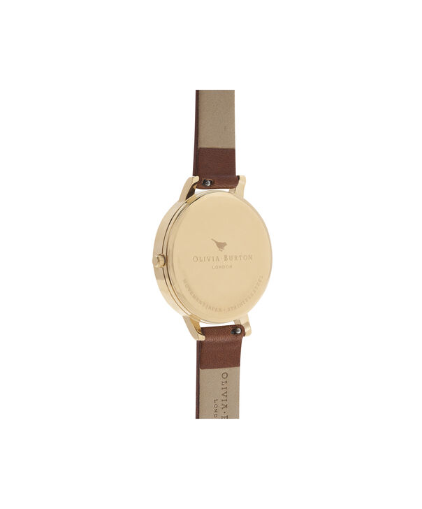 OLIVIA BURTON LONDON  Enchanted Garden Tan & Gold Watch OB16EG94 – Big Dial Round in Floral and Gold - Back view