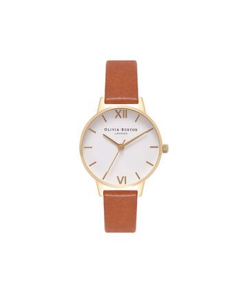 OLIVIA BURTON LONDON  White Dial Tan & Gold Watch OB16MDW09 – Midi Dial Round in White and Tan - Front view