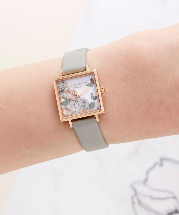 OLIVIA BURTON LONDON  Midi Signature Floral Rose Gold and Grey Watch OB16WG41 – Midi Dial in Floral and Rose Gold - Other view