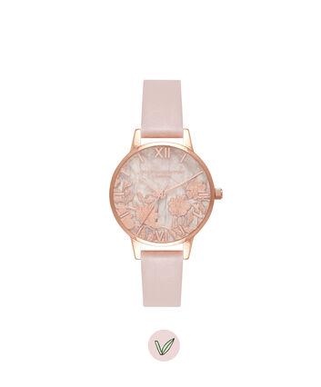 OLIVIA BURTON LONDON Semi Precious Rose Quartz Vegan Rose Sand & Rose GoldOB16MV84 – Midi Dial Round in Rose Gold and Pink - Front view