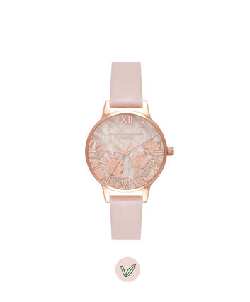 OLIVIA BURTON LONDON Semi Precious Rose Quartz Vegan Rose Sand & Rose GoldOB16MV84 – Midi Dial Round in Rose Gold and Pink - Front view