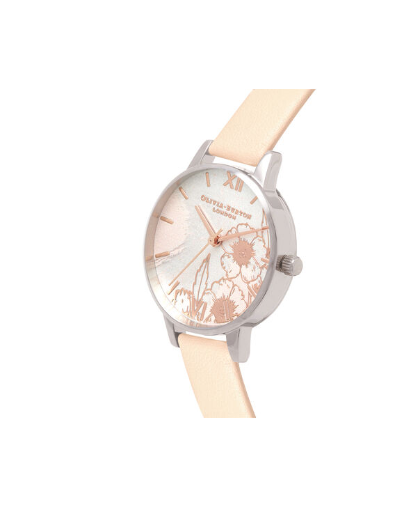 OLIVIA BURTON LONDON  Abstract Florals Nude Peach, Rose Gold & Silver OB16VM27 – Midi Dial Round in Silver and Rose Gold - Side view