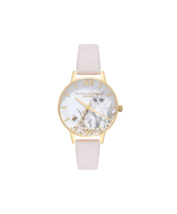 OLIVIA BURTON LONDON Vegan FriendlyOB16WL67 – Midi Dial Round in White and Nude - Front view