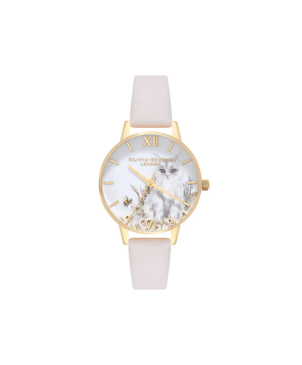 OLIVIA BURTON LONDON  Vegan Friendly Nude & Gold Watch OB16WL67 – Midi Dial Round in White and Nude - Front view
